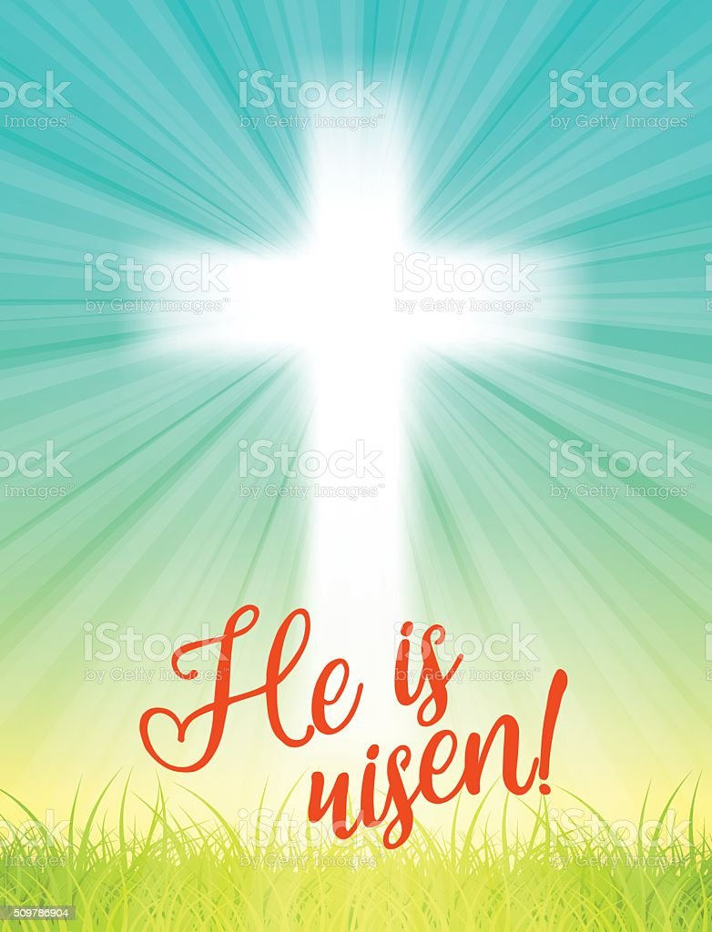 abstract white cross with rays and text He is risen vector art illustration