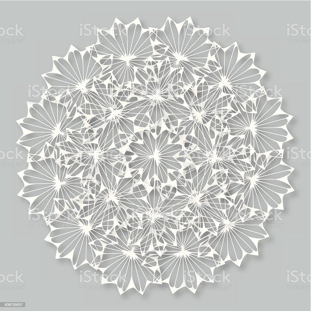 abstract white floral pattern with gray background royalty-free stock vector art