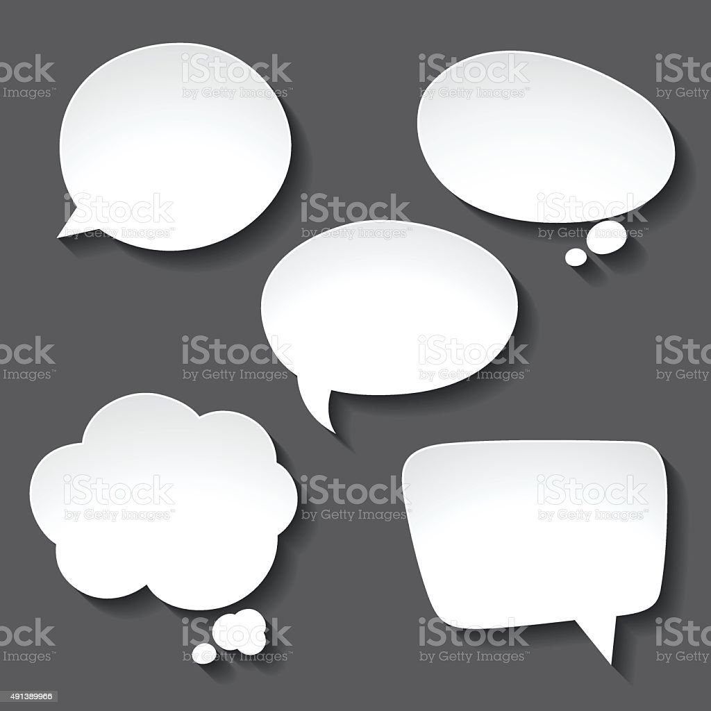 Abstract white paper speech bubbles on gray background vector art illustration