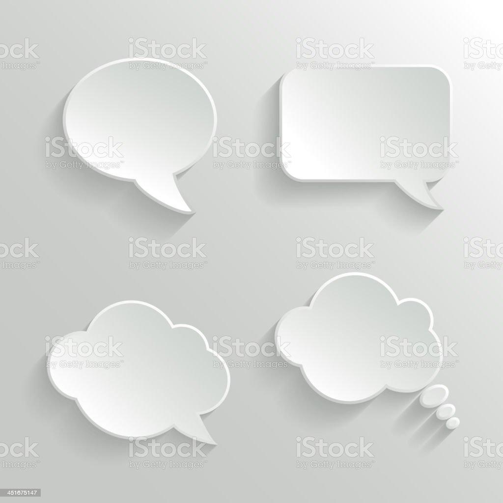 Abstract White Speech Bubbles Set vector art illustration