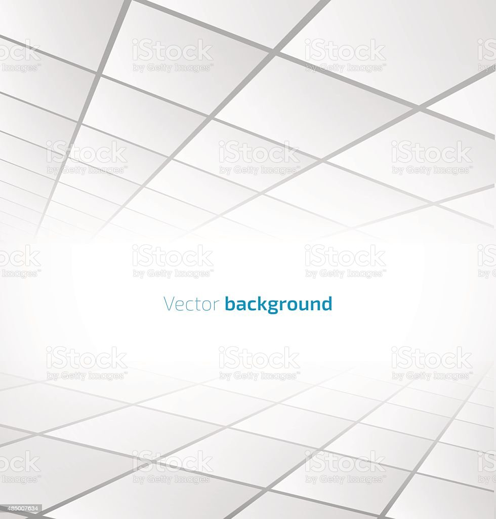 Abstract white tiled background with a perspective vector art illustration