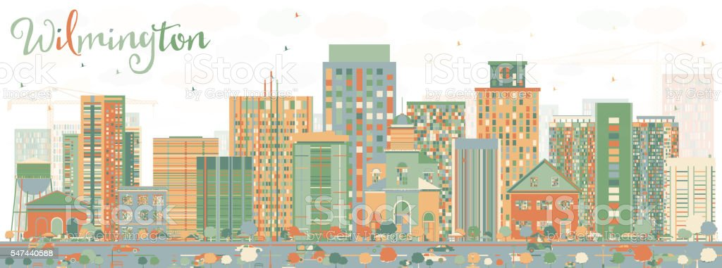 Abstract Wilmington Skyline with Color Buildings. vector art illustration