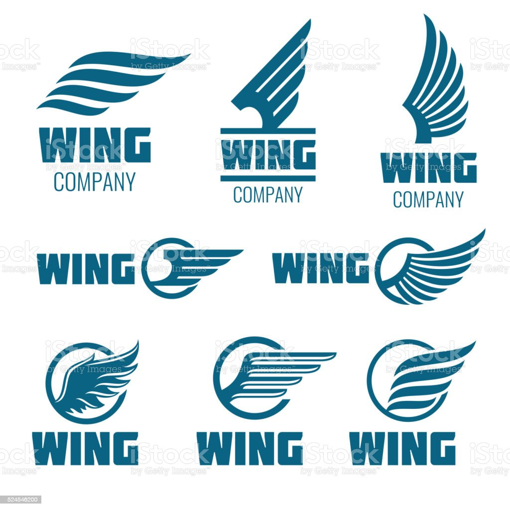 Abstract wings vector logo set for delivery, cargo, business companies vector art illustration