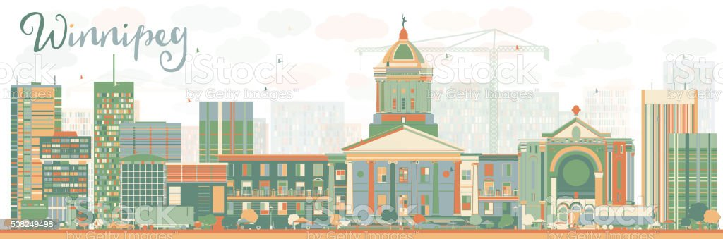 Abstract Winnipeg Skyline with Color Buildings. vector art illustration