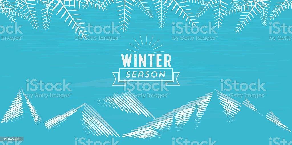 abstract winter season illustration on scribbled mountain  landscape vector art illustration