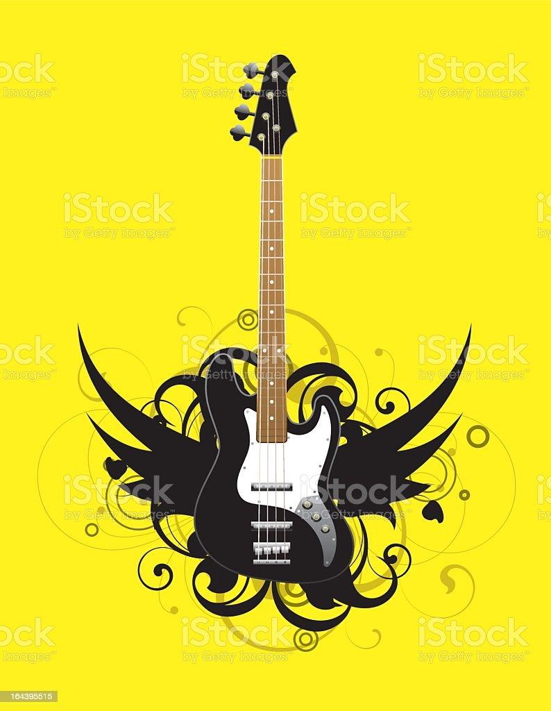 Abstract with bass guitar royalty-free stock vector art