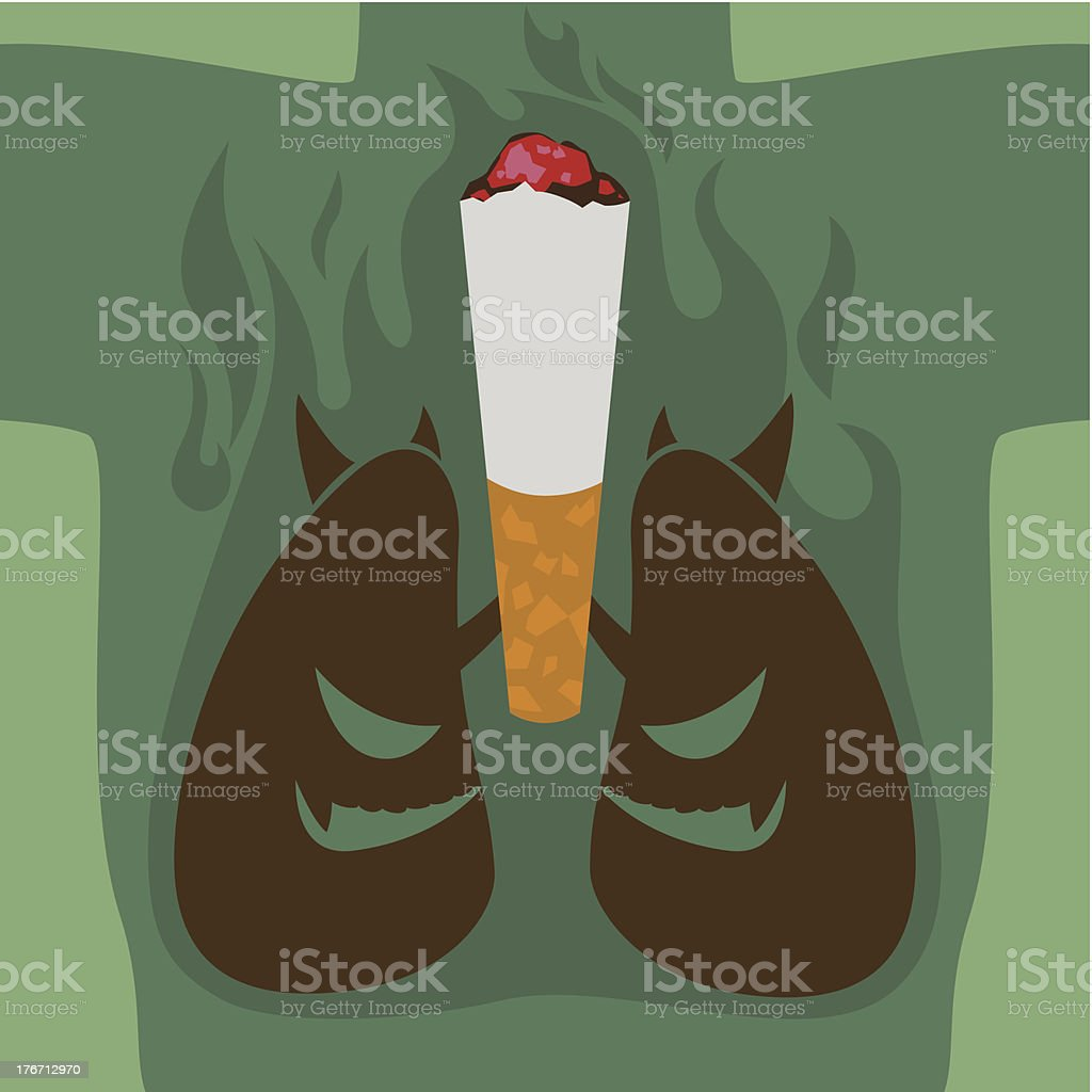 Abstract with cigarette and lungs. royalty-free stock vector art