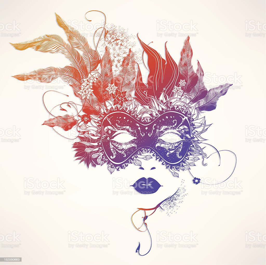 Abstract women face with flowers vector art illustration