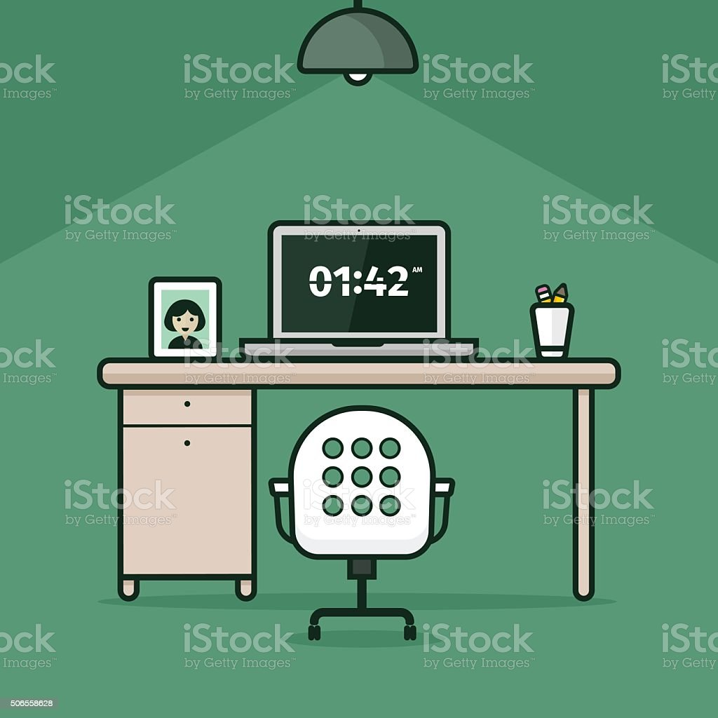 Abstract work place on green background vector art illustration