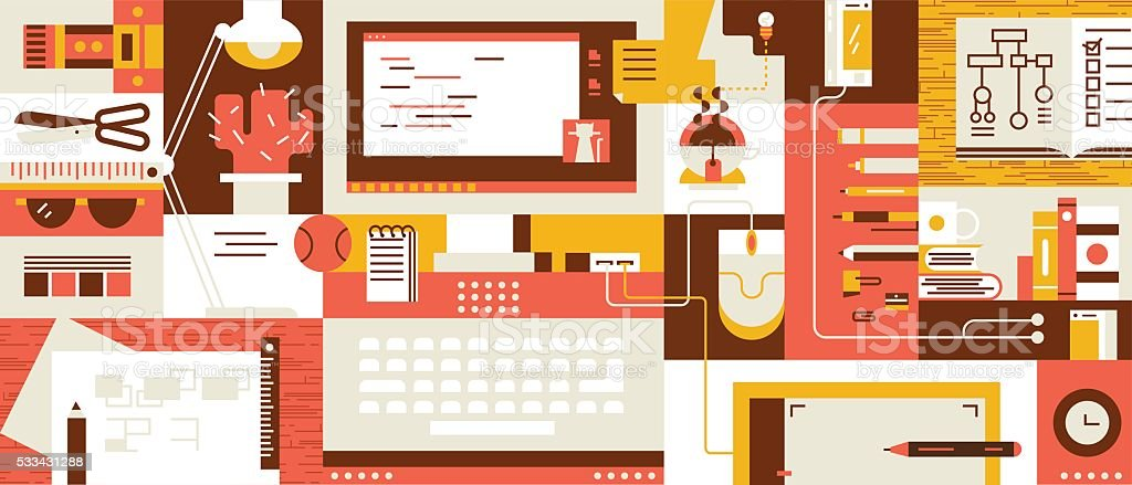 Abstract workspace design flat vector art illustration