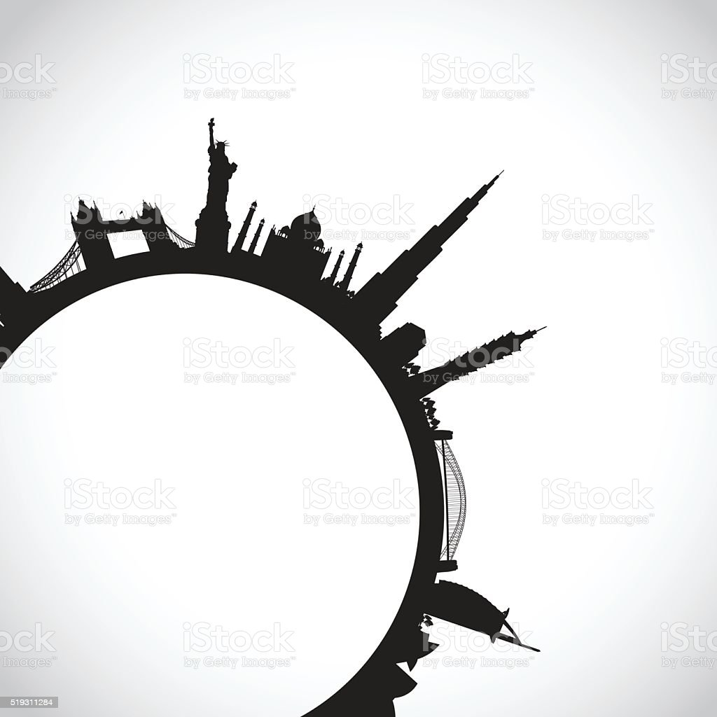 abstract world landmarks vector art illustration