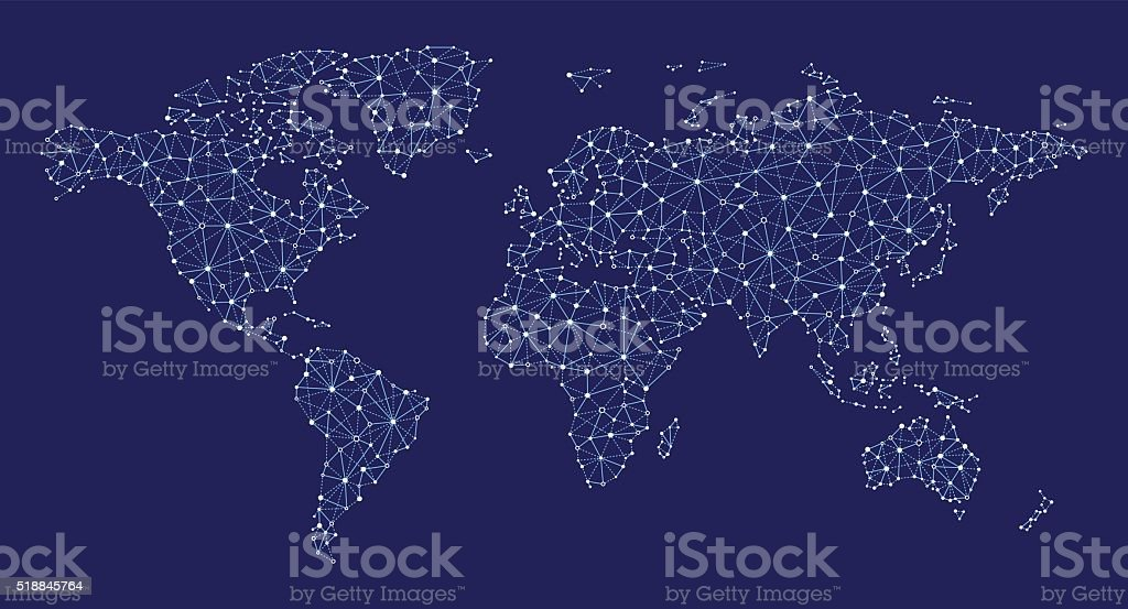 Abstract World Map vector art illustration