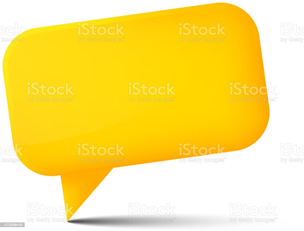 Abstract yellow glossy speech bubble on white royalty-free stock vector art