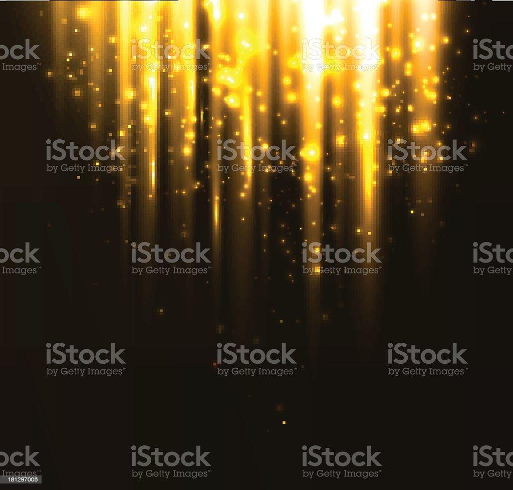 Abstract yellow light streaming down from black background vector art illustration