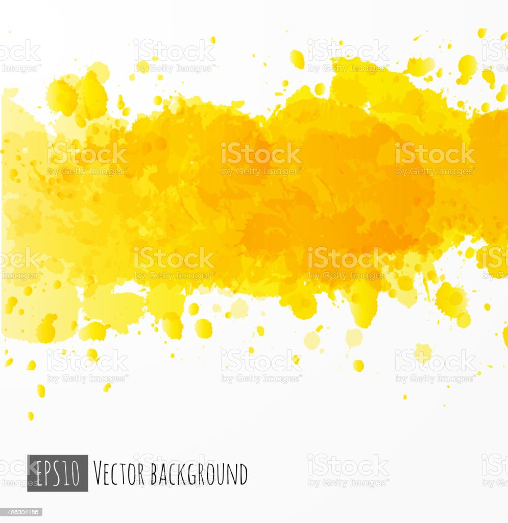 Abstract yellow watercolor background. vector art illustration