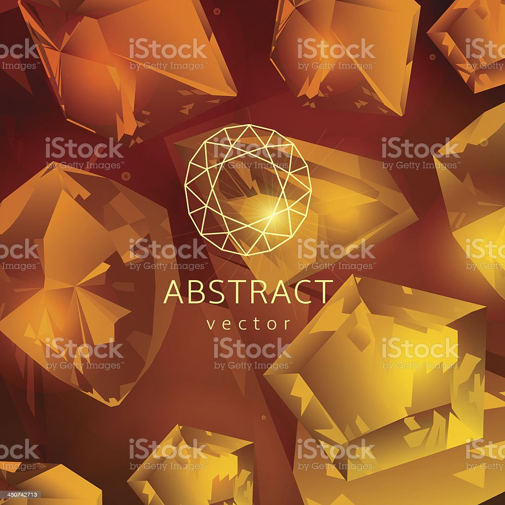 Abstract yellow-orange background with glowing gems vector art illustration