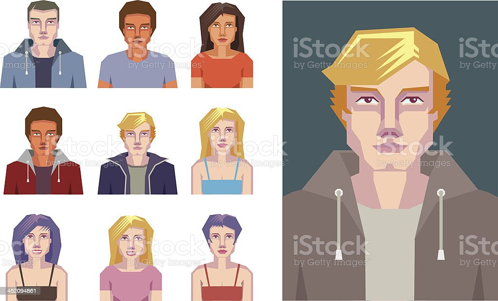 Abstract young people icons royalty-free stock vector art