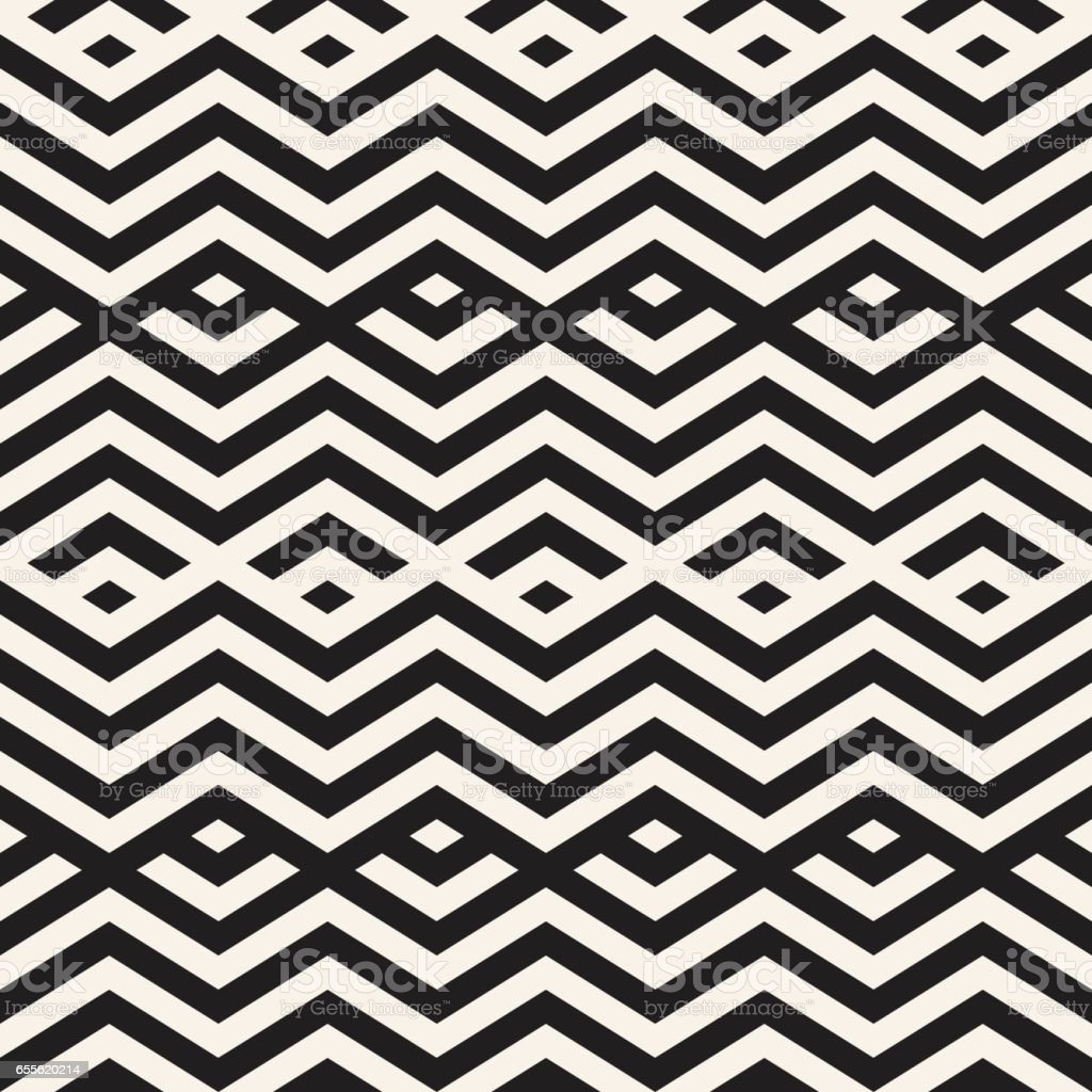 Abstract ZigZag Parallel Stripes. Vector Seamless Pattern. Repeating Monochrome Background vector art illustration