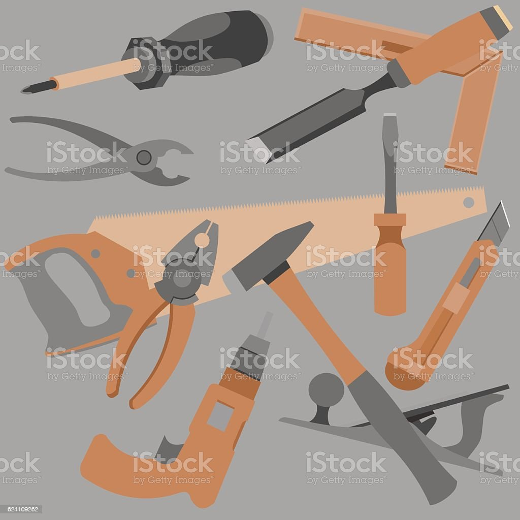 abstraction drawn a variety of objects and tools vector art illustration
