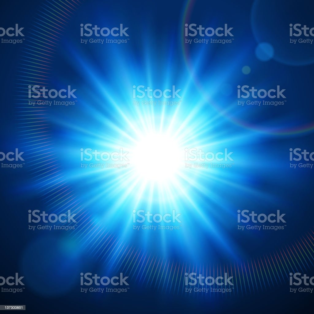 Abstraction light with lens flare vector art illustration