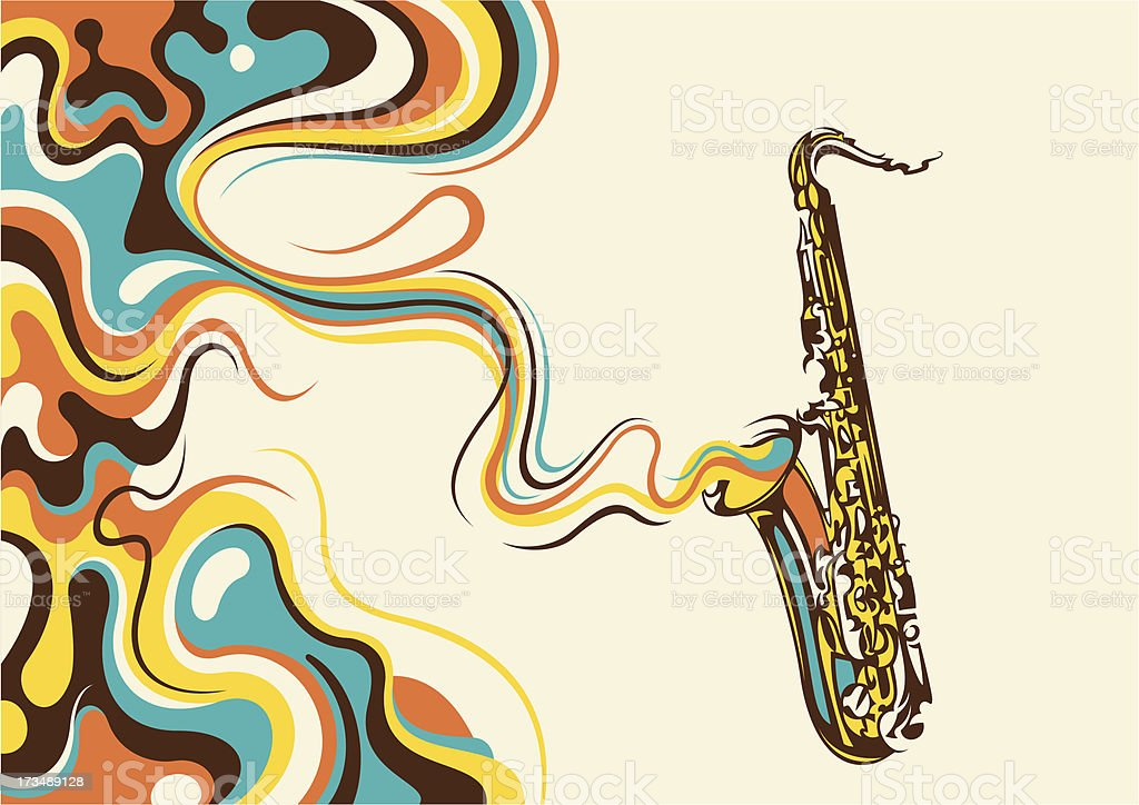 Abstraction with saxophone. vector art illustration