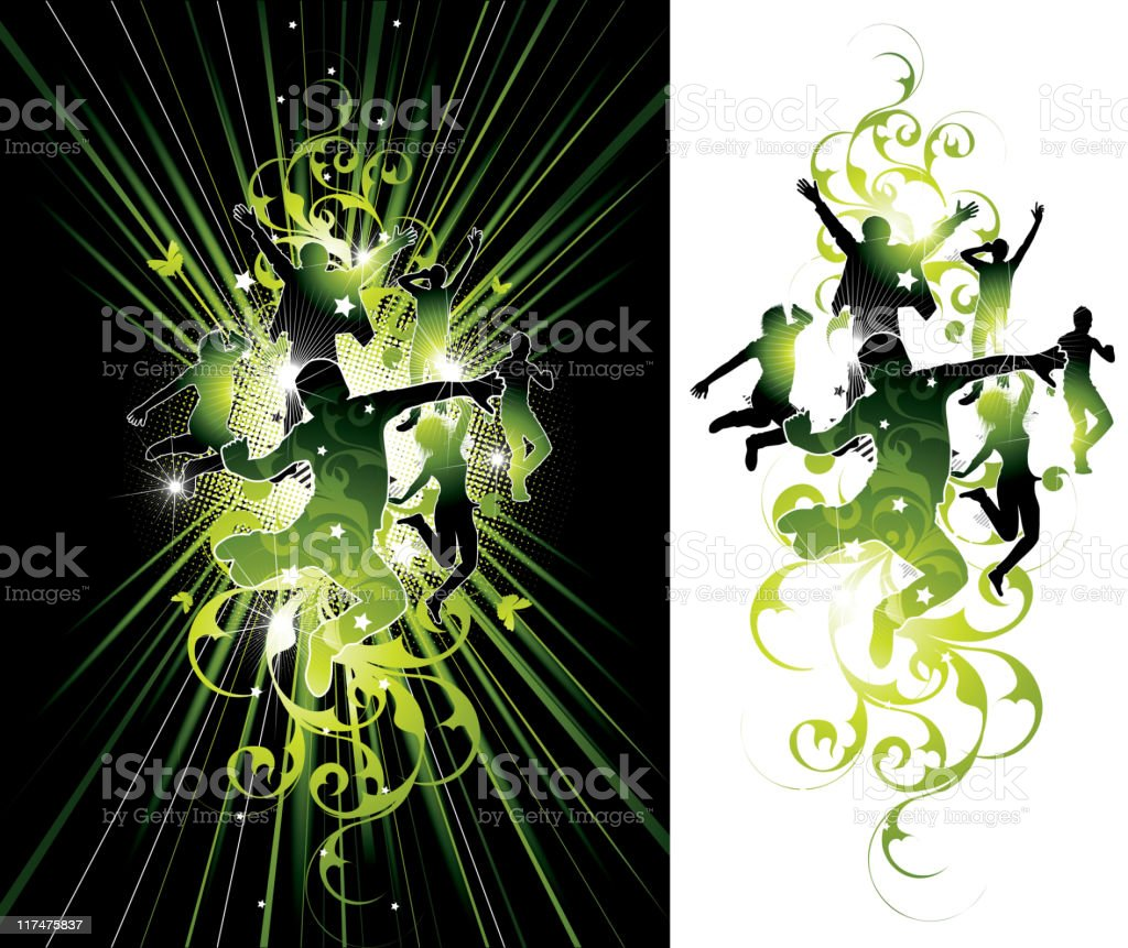 Abstraction with silhouettes royalty-free stock vector art