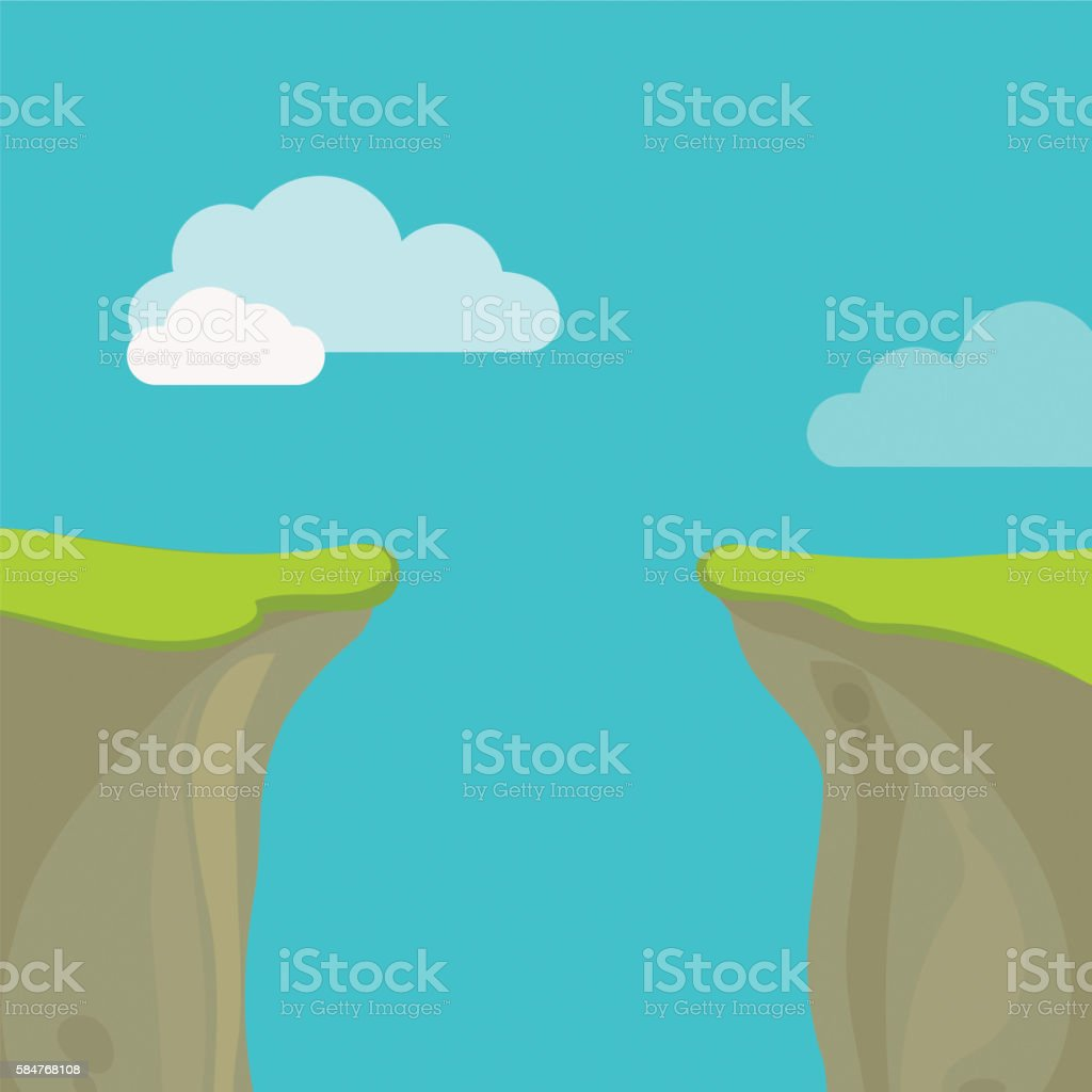 Abyss, gap or cliff concept with sky and clouds. vector art illustration