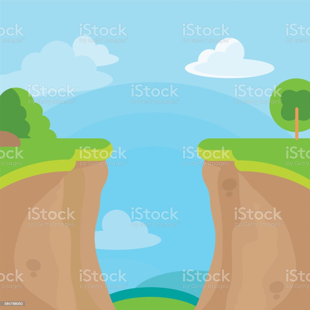 Abyss or cliff concept with trees, sky and clouds. vector art illustration