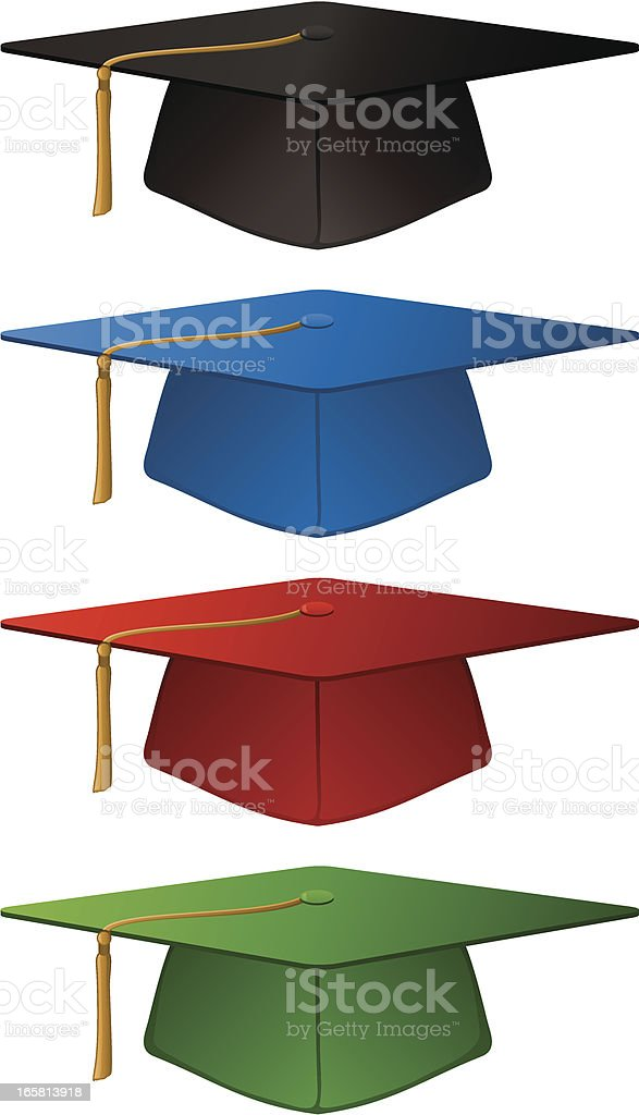 Academic School Graduation Mortar Board College Caps Vector Illustration royalty-free stock vector art