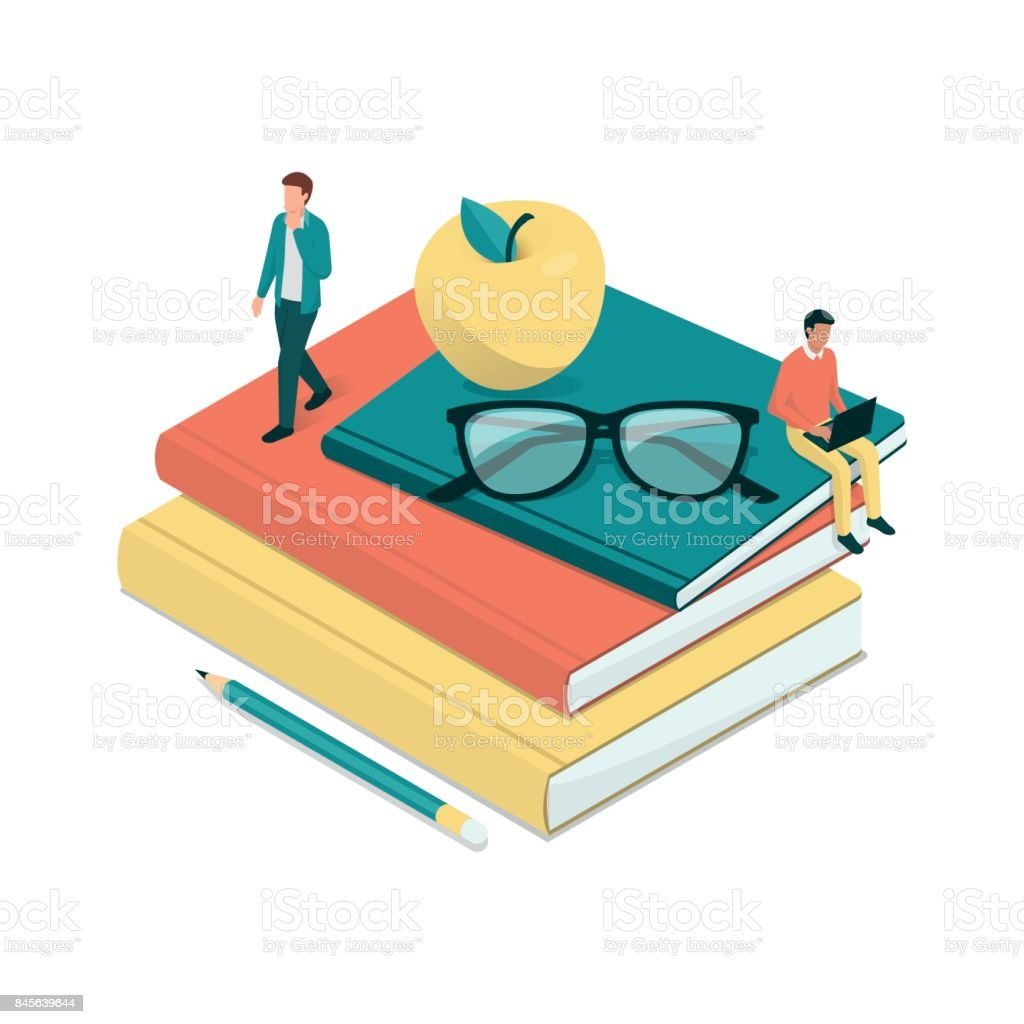 Academic students and pile of books vector art illustration