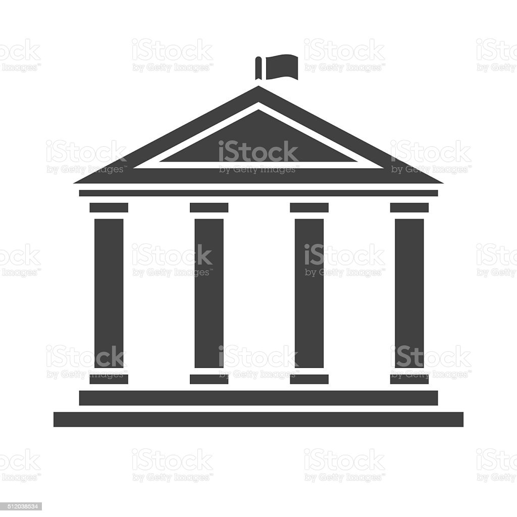 Academic Temple Outline Vector Icon vector art illustration