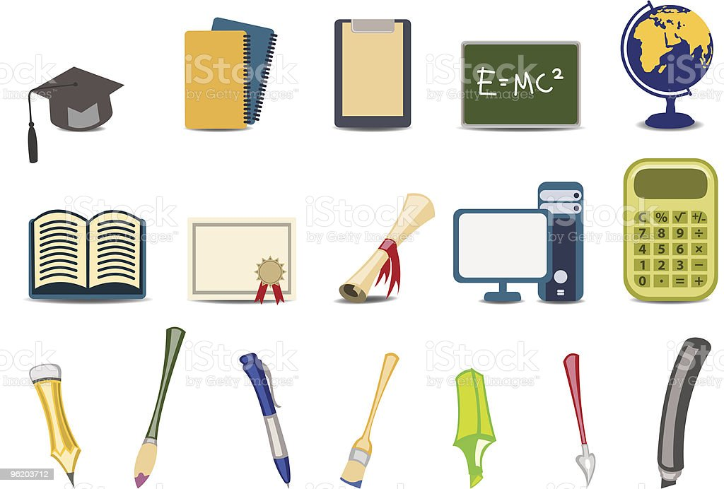 academy/educational icons set royalty-free stock vector art