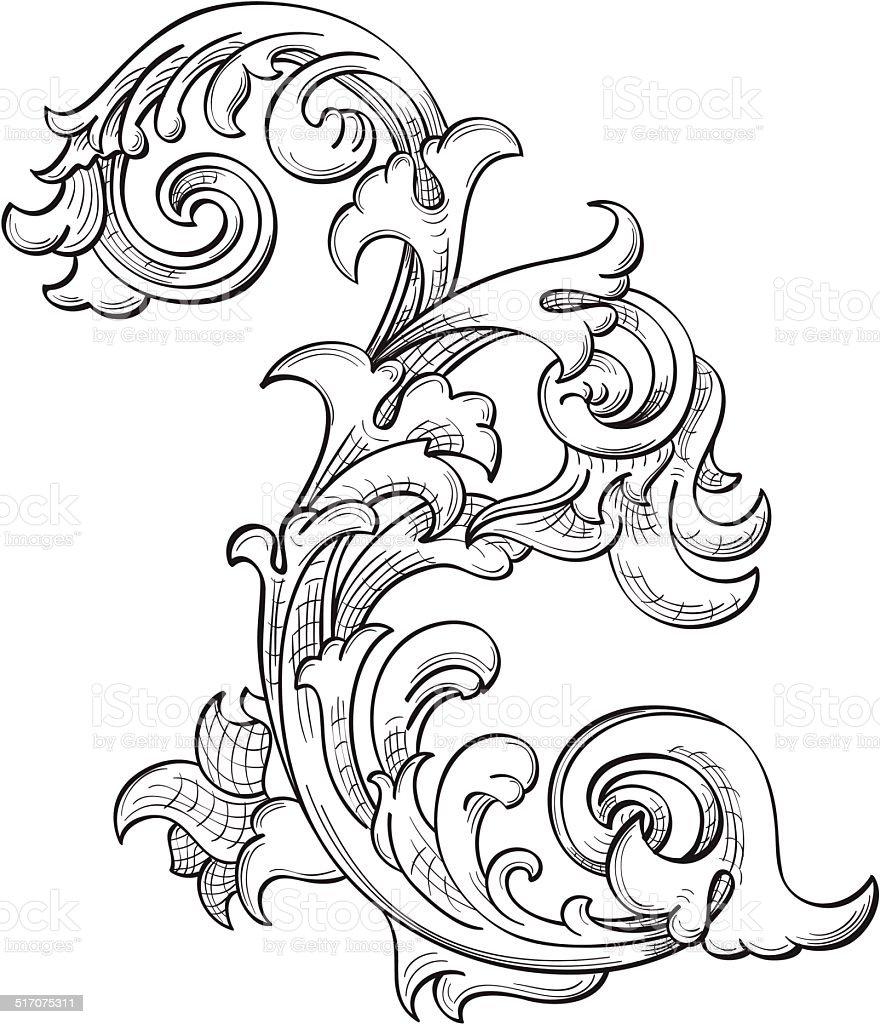 Acanthuse flower vector art illustration