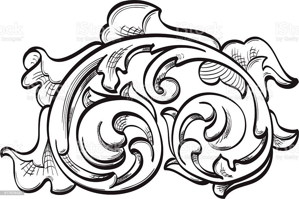 Acanthuse ornate leaf vector art illustration