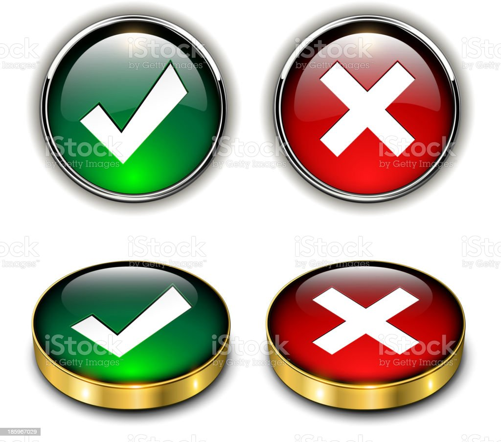 Accept and negate icons royalty-free stock vector art