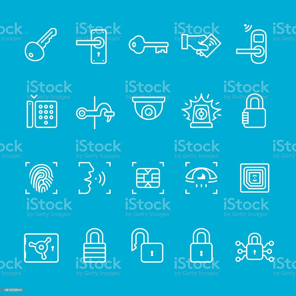 Access control icons collection vector art illustration