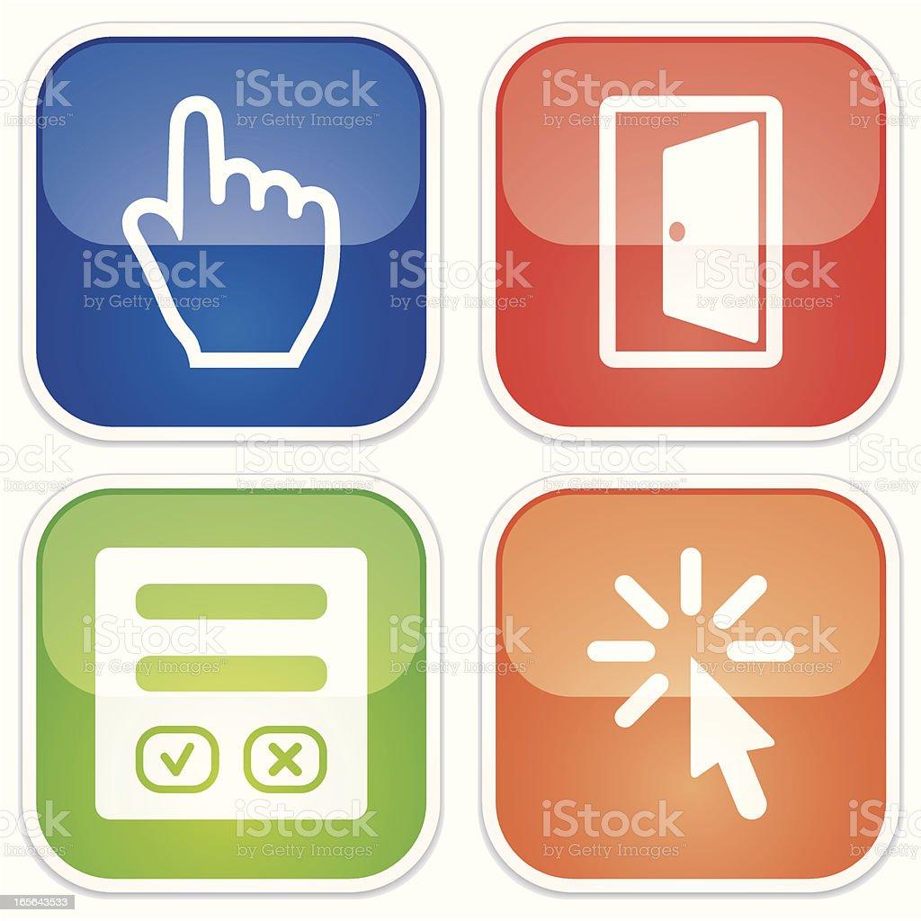 access online miniset - Quadro Glossy vector art illustration