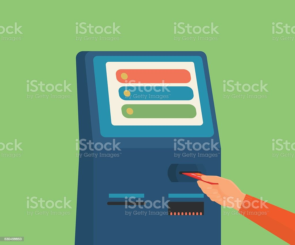 access to payment terminal vector art illustration