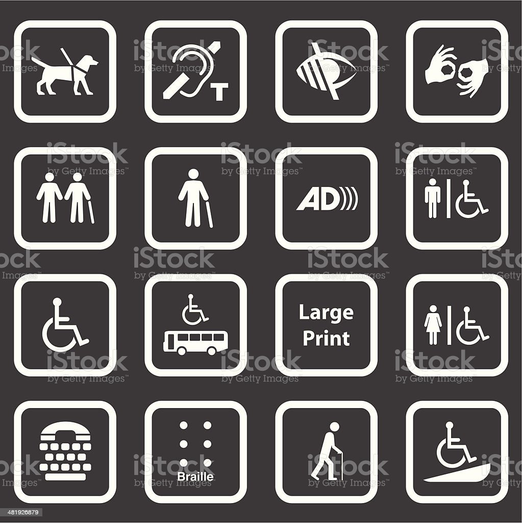 Accessibility Icons (White Series) royalty-free stock vector art