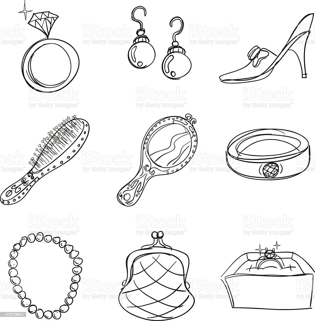 Accessories collection in sketch style royalty-free stock vector art