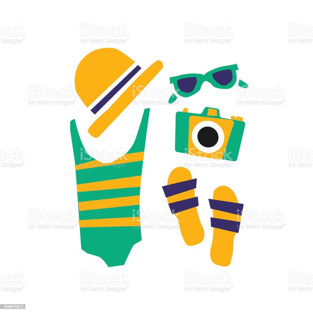 accessories for the beach vector art illustration