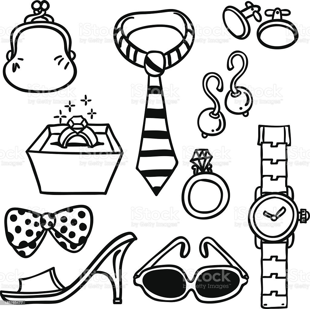 Accessories illustration in black and white royalty-free stock vector art