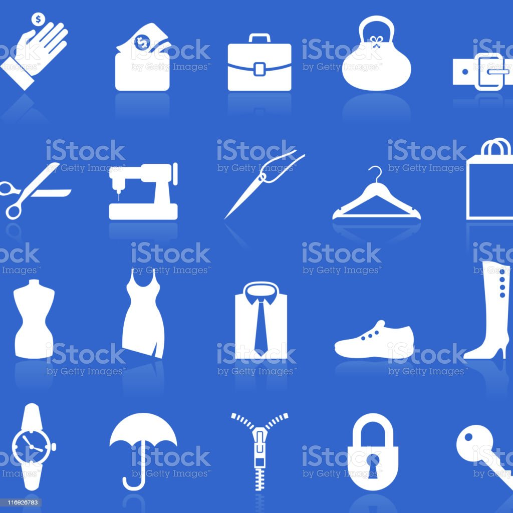 accessories repair royalty free vector icon set in knockout white royalty-free stock vector art