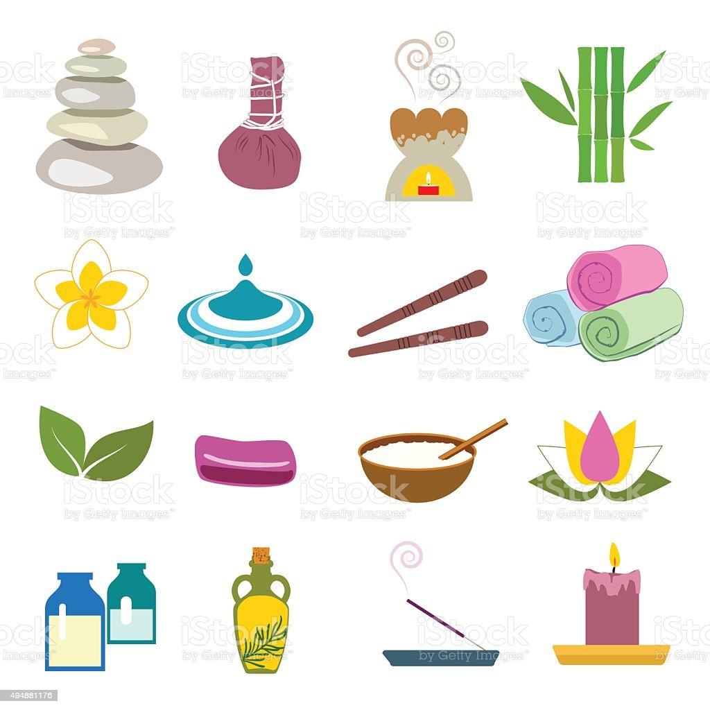 Accessories set for massage and sauna vector art illustration