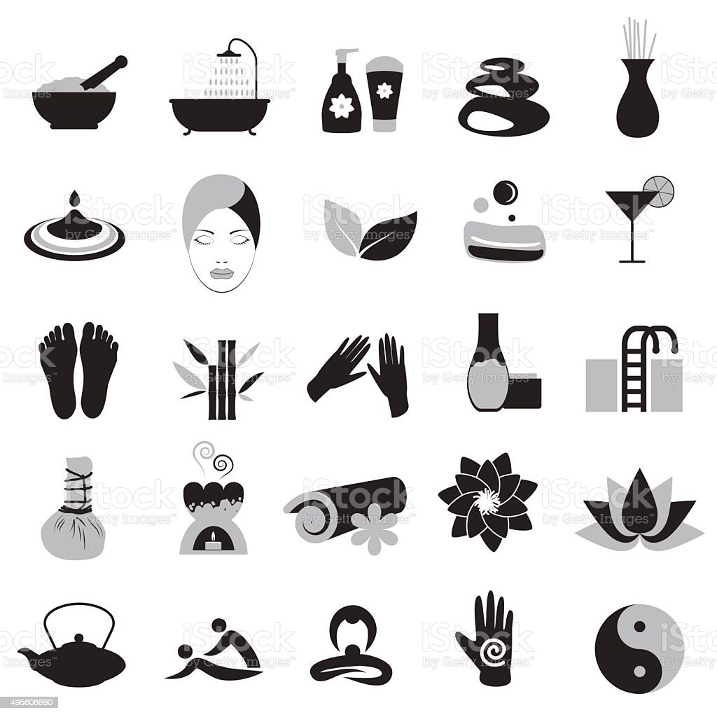 Accessories set for massage and spa vector art illustration