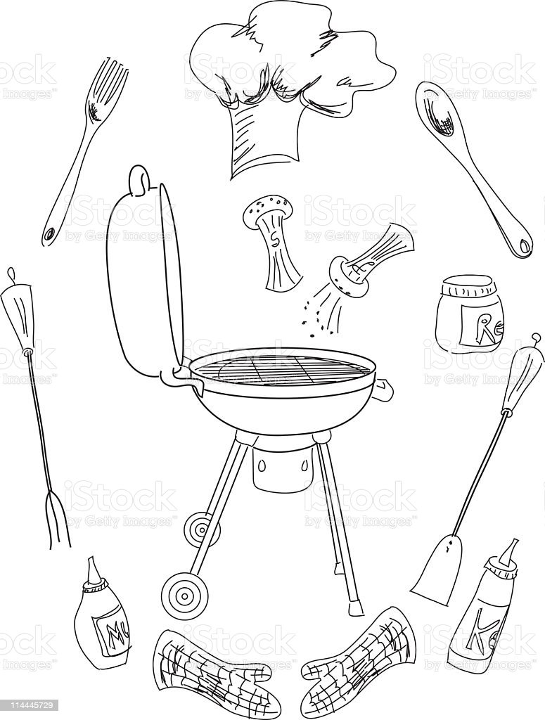 BBQ Accessories vector art illustration