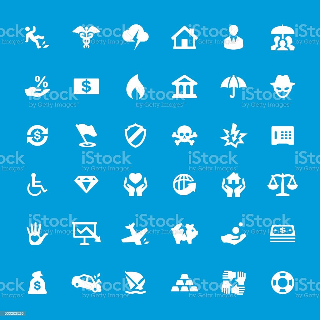 Accident And Insurance Themes vector icons set vector art illustration