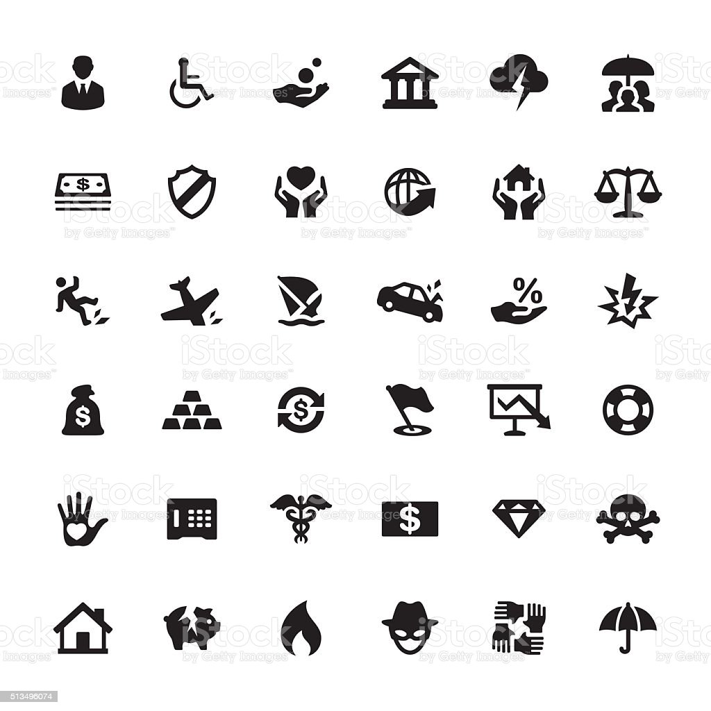 Accident And Insurance vector symbols and icons vector art illustration