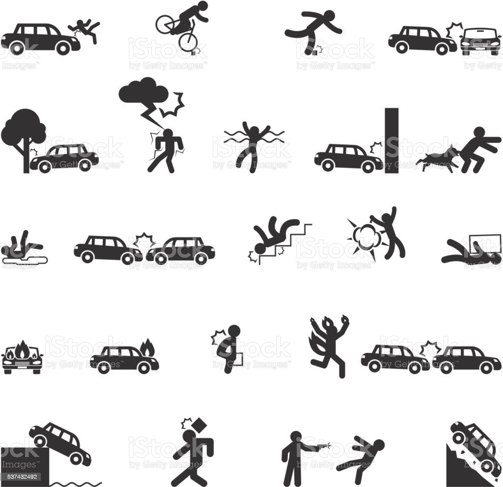 Accident icons vector vector art illustration