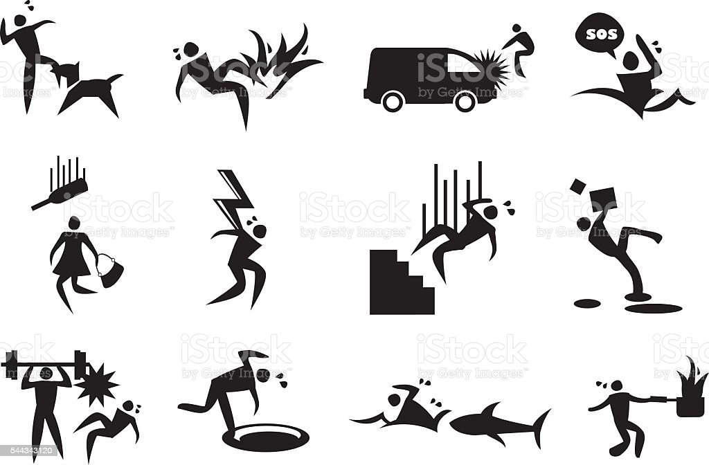 Accident, mishap and Disaster Vector Icons vector art illustration